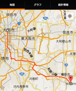大阪奈良ポタリング走行軌跡